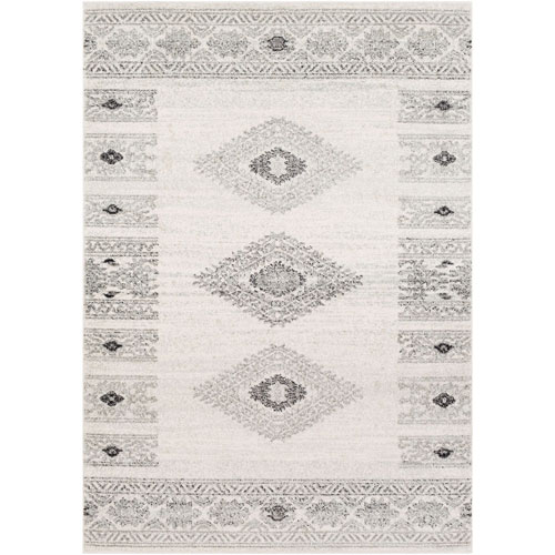 Elaziz Gray and White Runner: 2 Ft. 7 In. x 7 Ft. 6 In. Rug