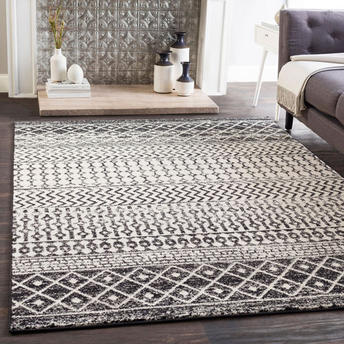 Surya Elaziz Black Rectangle: 2 Ft. x 3 Ft. Rug