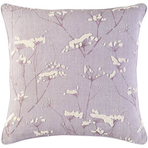 Surya Enchanted Purple and Neutral 20-Inch Pillow with Down Fill