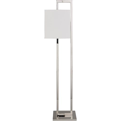 Surya Bethune Silver One-Light Floor Lamp with White Shade