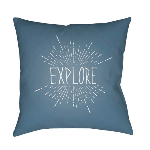 Explore II Blue and White 20 x 20-Inch Throw Pillow