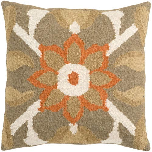Taupe and Beige Flower Pattern Wool 18 x 18 Pillow