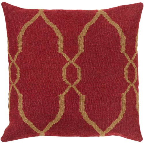 Fallon Red and Brown 18-Inch Pillow Cover