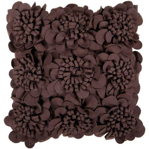 Surya Espresso Dimensional Flower 22 x 22 Pillow