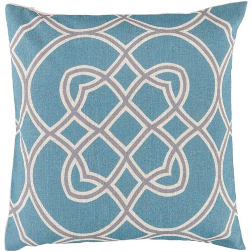 22-Inch Square Cameo Blue, Dove Gray, and Parchment Patterned Pillow Cover with Down Insert