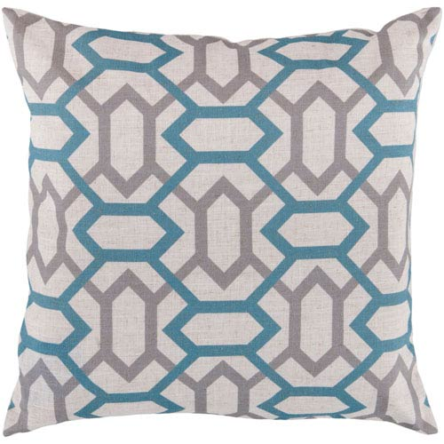 22-Inch Square Cameo Blue, Flint Gray, and Peach Cream Patterned Pillow Cover with Down Insert