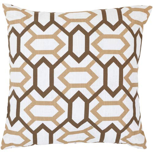 22-Inch Square Dark Chocolate, Dark Beige, and Icicle Patterned Pillow Cover with Poly Insert