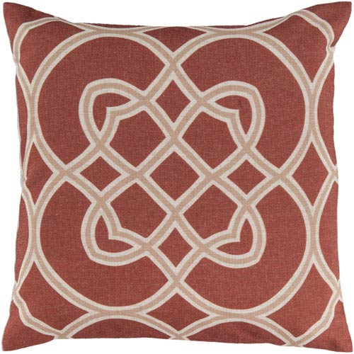 22-Inch Square Red Clay, Camel, and Parchment Patterned Pillow Cover with Down Insert