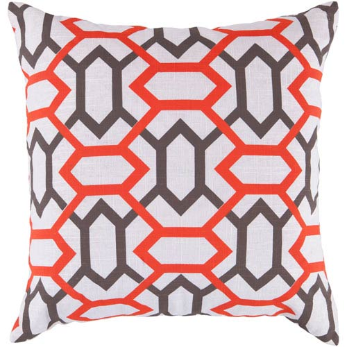 22-Inch Square Orange-Red, Mulled Wine, and Icicle Patterned Pillow Cover with Poly Insert