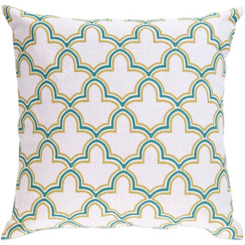 18-Inch Square Fern Green, Sea Green, and Peach Cream Patterned Pillow Cover with Down Insert