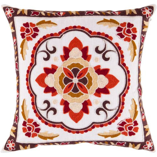 22-Inch Square Ivory Polyester Pillow Cover with Multi-Color Floral Pattern and Poly Insert