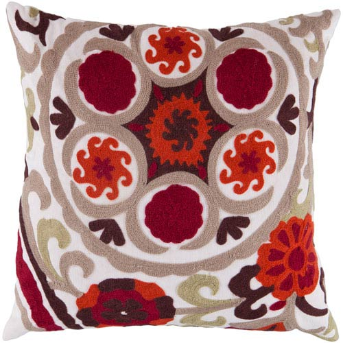 22-Inch Square White and Brown Multi-Color Floral Polyester Pillow Cover with Down Insert