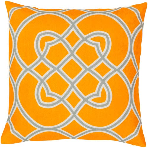 Orange Peel, Foggy Blue and White Polyester Filled 22 x 22  Pillow