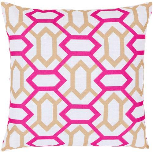 Surya White, Magenta and Safari Tan Polyester Filled 18 x 18  Pillow