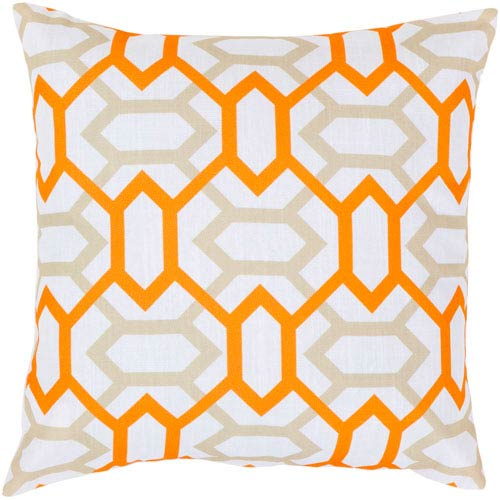 White, Moth Beige and Tangerine Polyester Filled 22 x 22  Pillow