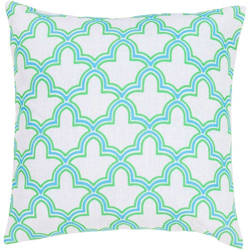 White, Neon Lime and Corn Flower Blue Polyester Filled 18 x 18  Pillow