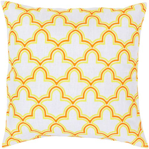 Surya White, Chartreuse Yellow and Tangerine Polyester Filled 22 x 22  Pillow