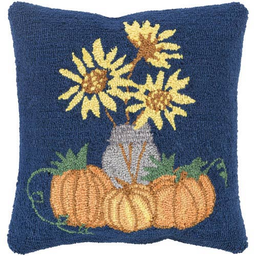 Navy Fall Harvest Sunflowers  18-Inch Pillow Cover