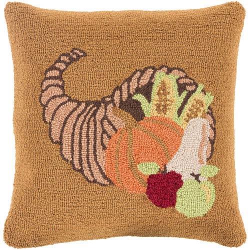Orange Fall Harvest Cornucopia 18-Inch Throw Pillow with Down Fill