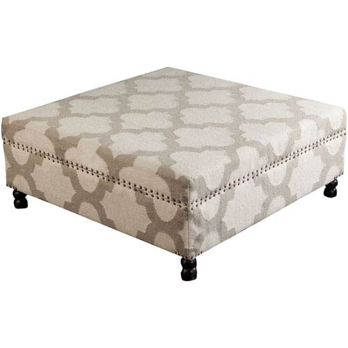 Margate Ivory and Light Gray Ottoman
