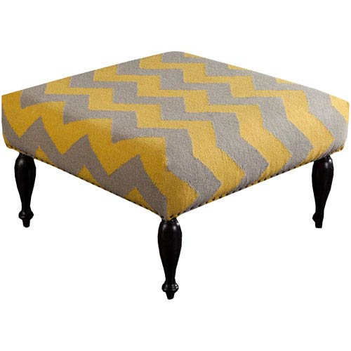 Biscayne Olive and Gold Ottoman