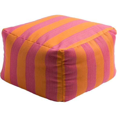 Finn Orange and Pink Cube Pouf