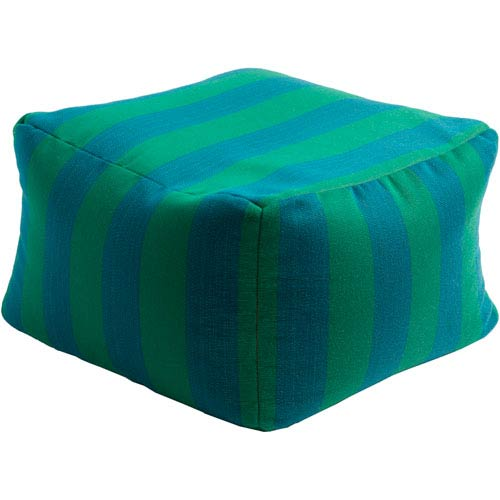 Finn Blue and Green Cube Pouf
