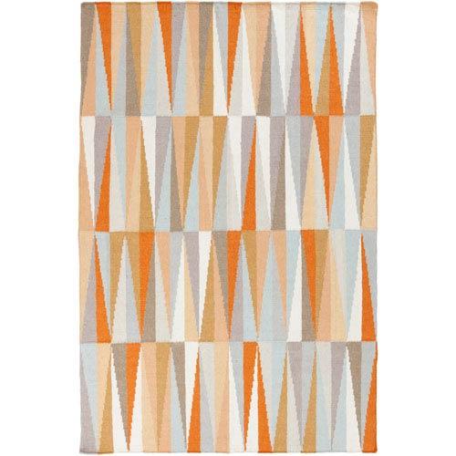 Frontier Light Gray and Burnt Orange Rectangular: 2 Ft x 3 Ft Rug