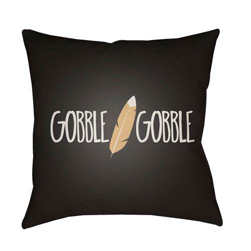 Black Feather 20-Inch Throw Pillow with Poly Fill
