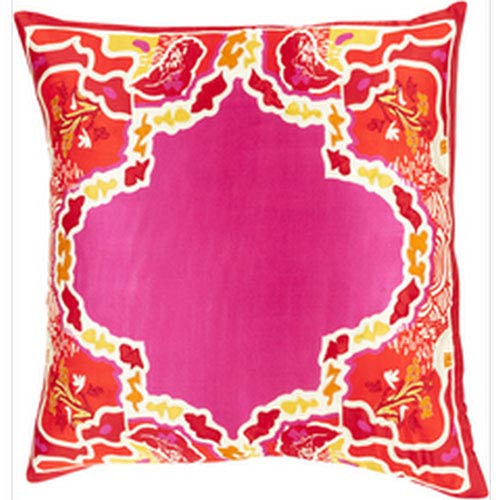 Luxury and Lattice Magenta and Poppy 22-Inch Pillow with Poly Fill