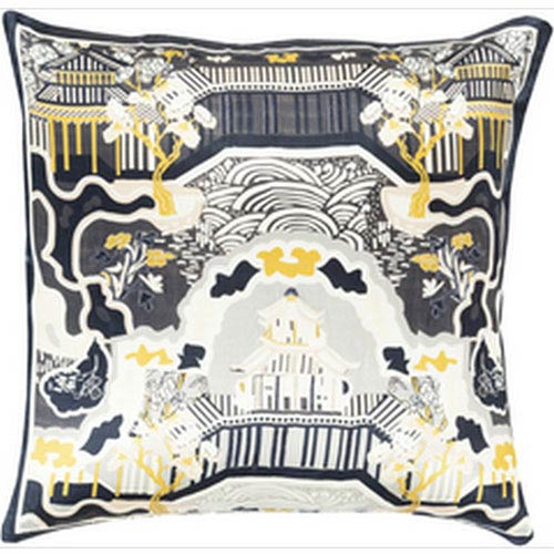 Chinoserie Charm Forest and Navy 22-Inch Pillow with Down Fill