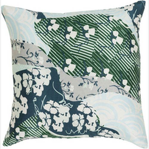 Silk Sophistication Teal and Emerald 18-Inch Pillow with Poly Fill