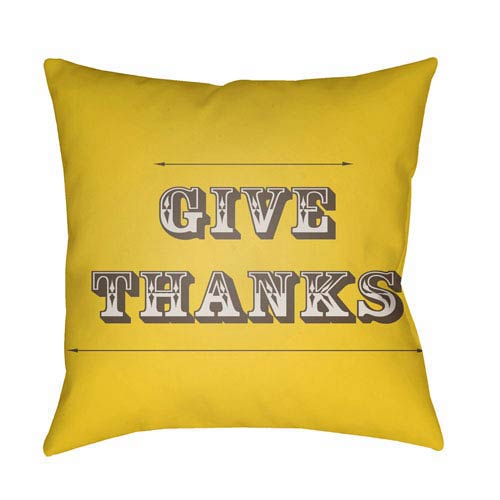 Yellow Thanks 18-Inch Throw Pillow with Poly Fill
