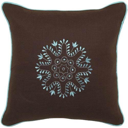 Geomatriex Chocolate/Turquoise 22 x 22 Pillow