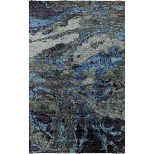 Gemini Charcoal and Teal Rectangular: 8 Ft x 11 Ft Rug
