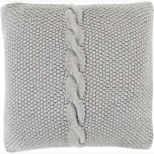 Classic Cable Knit Ivory 18-Inch Pillow with Poly Fill