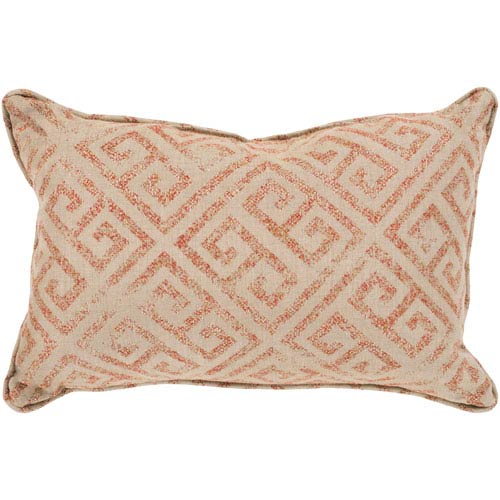 Geonna Khaki and Burnt Orange 16 x 16 In. Throw Pillow