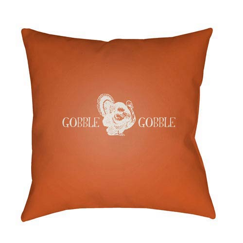 Orange Gobble Gobble 20-Inch Throw Pillow with Poly Fill