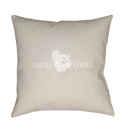 Beige Gobble Gobble 20-Inch Throw Pillow with Poly Fill