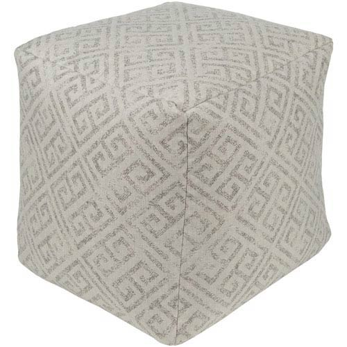 Geonna Ivory and Taupe Pouf