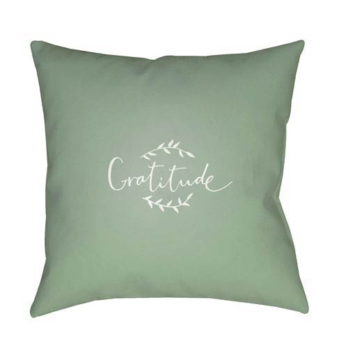 Green Gratitude 18-Inch Throw Pillow with Poly Fill