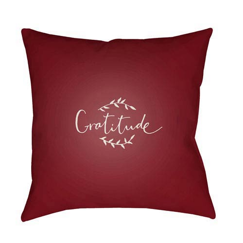 Red Gratitude 18-Inch Throw Pillow with Poly Fill