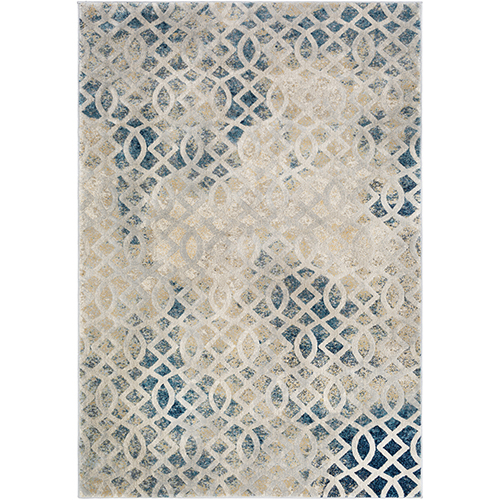 Cash Beige and Blue Rectangular: 7 Ft. 10 In. x 10 Ft. 3 In. Rug
