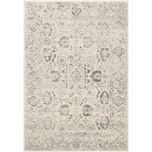 Harput Charcoal and White Rectangular: 3 Ft. 11 In. x 5 Ft. 7 In. Rug