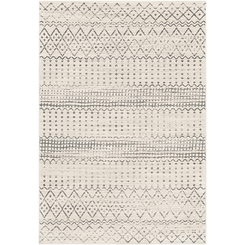 Harput White and Charcoal Rectangular: 6 Ft. 7 In. x 9 Ft. Rug