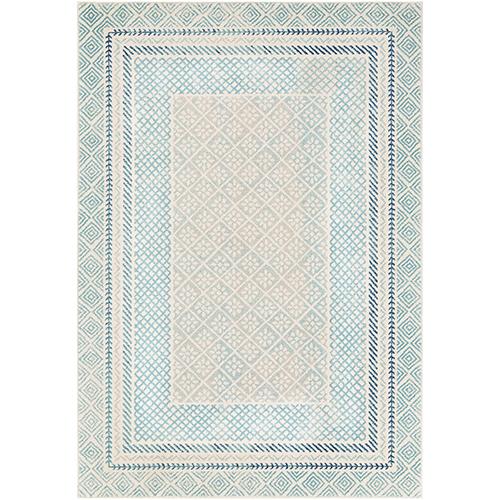 Harput Aqua and Blue Rectangular: 3 Ft. 11 In. x 5 Ft. 7 In. Rug