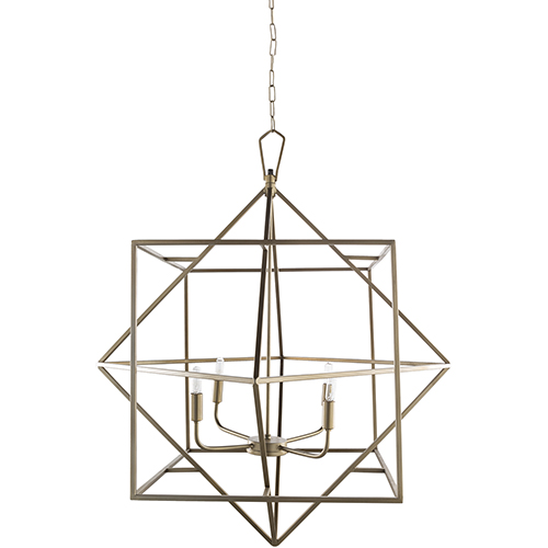 Surya Bach Brass 32-Inch Four-Light Pendant