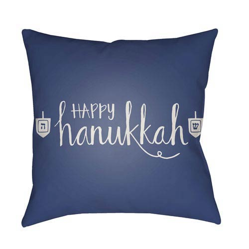 Surya Blue Happy Hanukkah 18-Inch Throw Pillow with Poly Fill