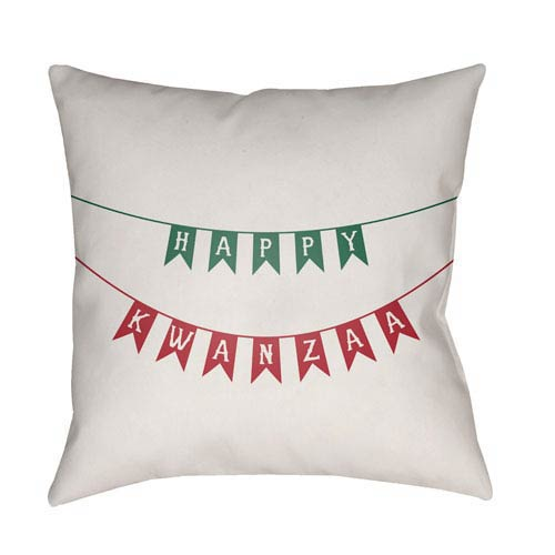 White Kwanzaa I 18-Inch Throw Pillow with Poly Fill