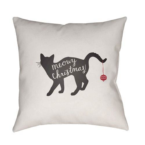 White Meowy 18-Inch Throw Pillow with Poly Fill